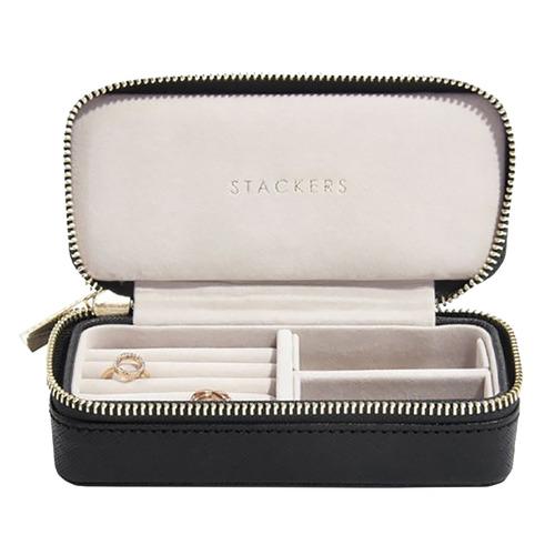 Black Medium Faux Leather Travel Jewellery Box