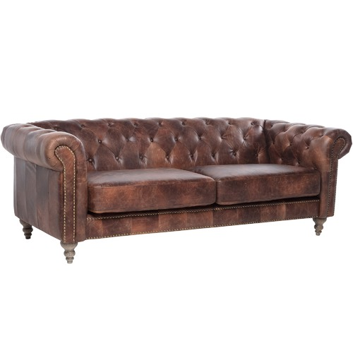 0ea74317dbb8 Hugo Chesterfield 3 Seater Leather Sofa | Temple & Webster