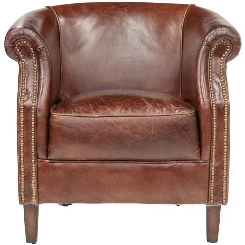 Chartwell Home Chocolate Mossberg Leather Tub Chair