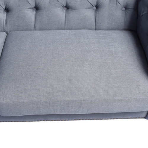 Chartwell Home Victoria 2 Seater Grey Linen Chesterfield Sofa