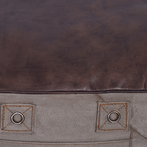 Chartwell Home Grey Astrid Leather Top Square Ottoman