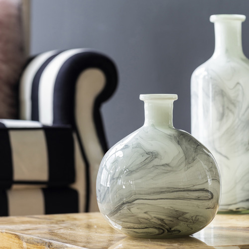 Smoky White Prudence Round Glass Vase
