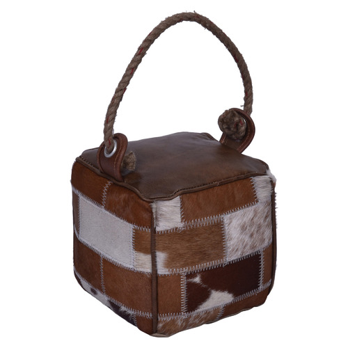 Chartwell Home Brown Astrid Leather & Canvas Door Stop