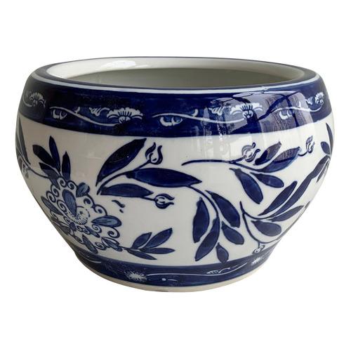 Chartwell Home Blue & White Segolene Porcelain Planter