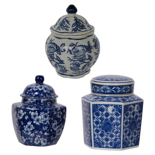 3 Piece Severine Porcelain Temple Jar Set