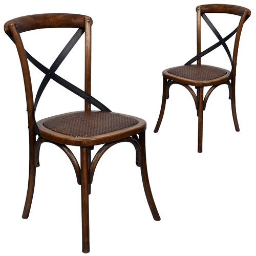 Chartwell Home Cross Back Elm Wood Dining Chairs