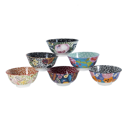 Cooper & Co Homewares 6 Piece Floral Ceramic Bowl Set