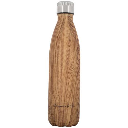 Cooper & Co Homewares Wood Grain 750ml Stainless Steel Drinking Bottle