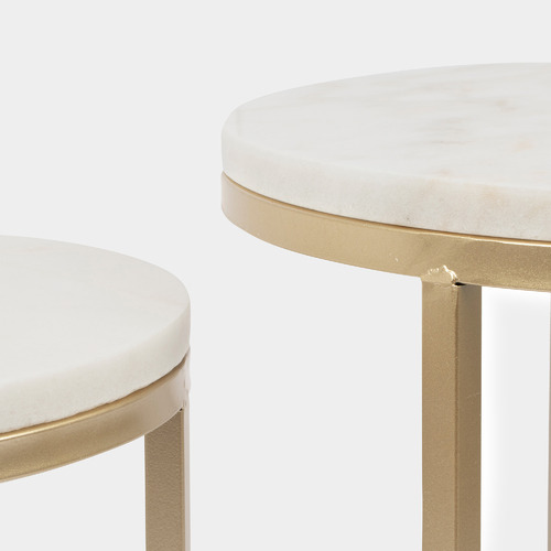 2 Piece Marble & Metal Side Table Set
