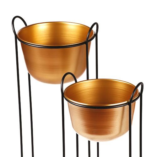Cooper & Co Homewares 2 Piece Brass Erioll Metal Planter on Stand Set