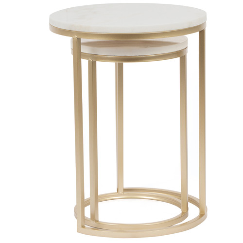 2 Piece Marble & Metal Nesting Side Table Set