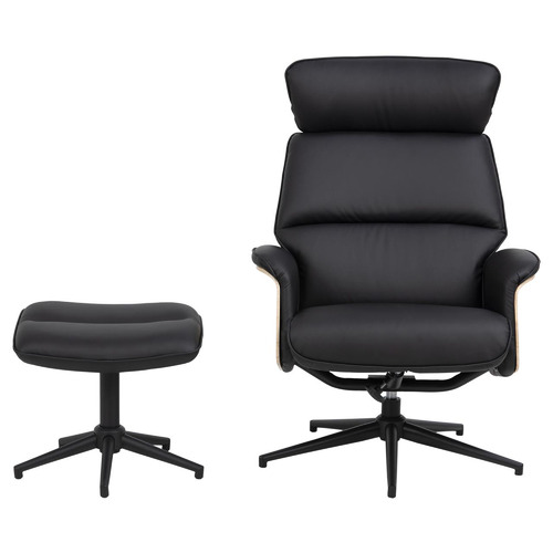 Cooper & Co Homewares Black Astra Faux Leather Armchair with Footstool