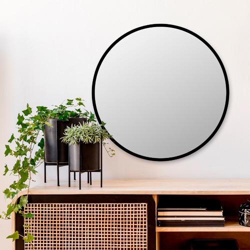 Black Antawn Round Wall Mirror