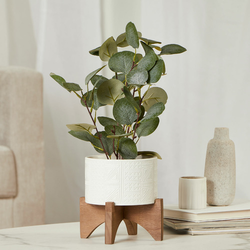 39cm Faux Money Plant in Ceramic Pot with Stand
