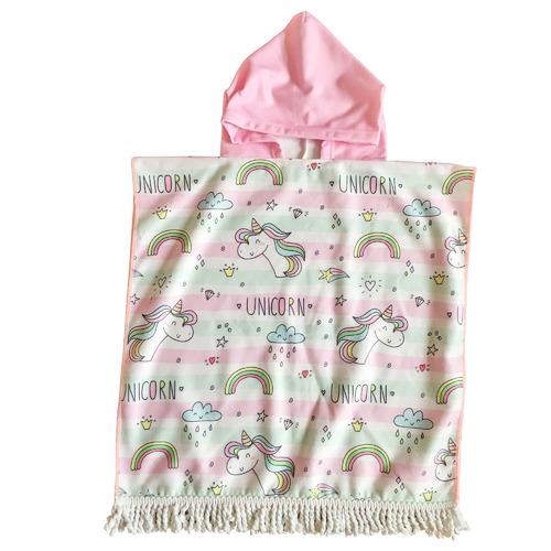 Unicorn Kids Hooded Beach Towel