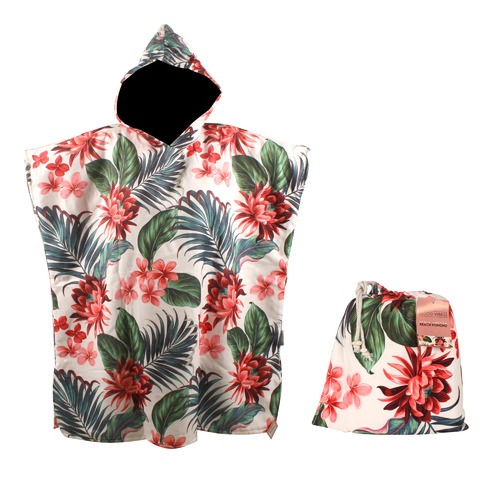 Tropical Petal Cotton Beach Poncho