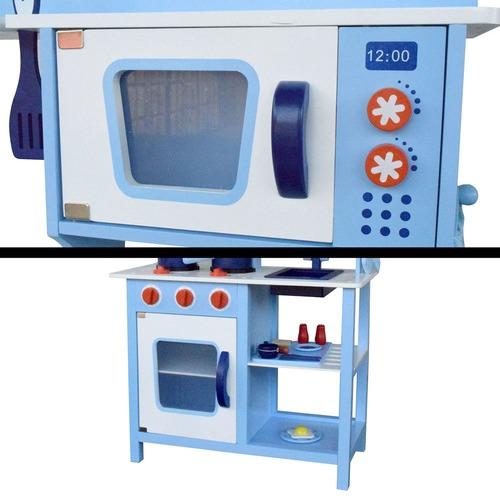 Dwell Kids Children Wooden Kitchen Play Set Blue