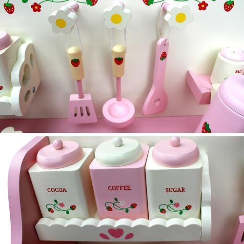 Dwell Kids Children Wooden Kitchen Play Set Pink