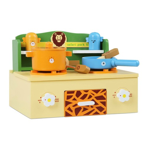 Dwell Kids Wooden Safari Theme Portable Mini Stove Top