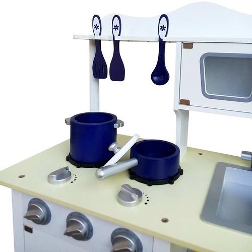 Dwell Kids White & Blue 18 Piece Kitchen Play Set