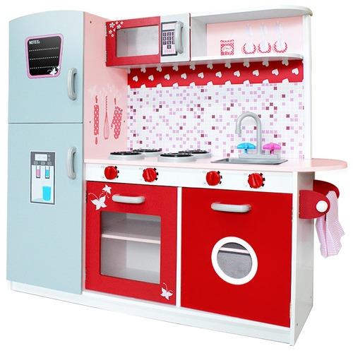 Children Wooden Kitchen Play Set W Fridge Pink