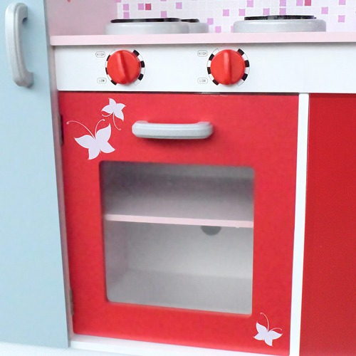 Dwell Kids Children Wooden Kitchen Play Set w/ Fridge Pink