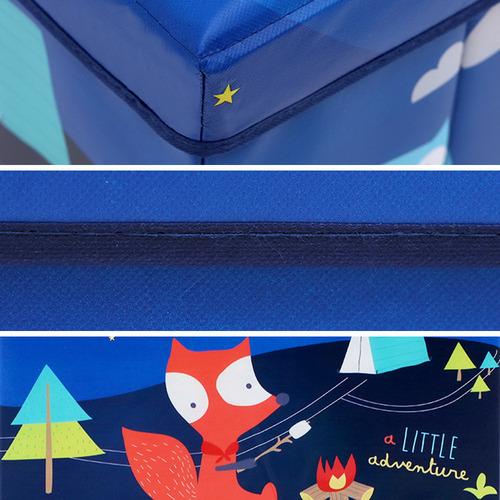 Dwell Kids Blue Little Adventure Kids Foldable Storage Ottoman