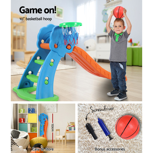 Dwell Kids Kids Perry Slide with Basketball Hoop & Ladder Base