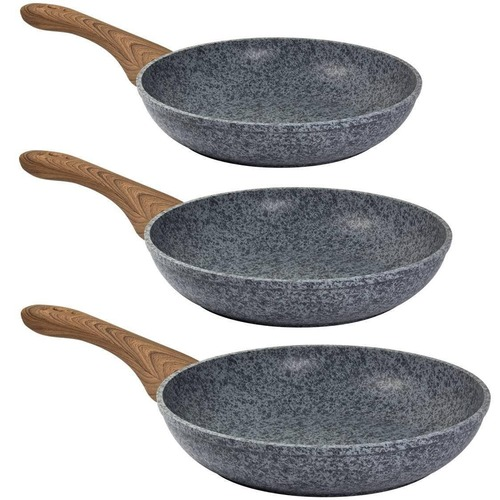 CS KOCHSYSTEME 3 Piece Grey Steinfurt Non-Stick Fry Pan Set
