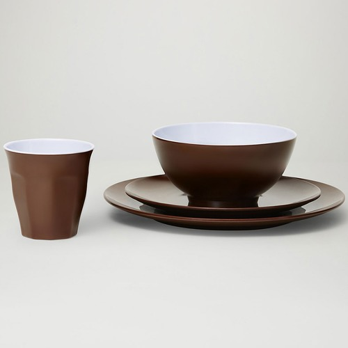 Brown Classic Melamine Dinner Set
