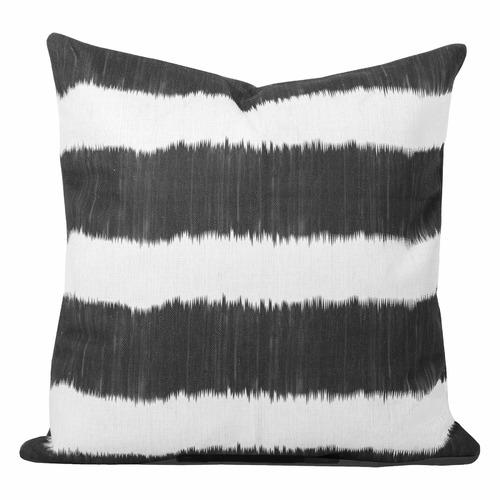Cushion Bazaar Black Stripe Ikat Bayou Cushion