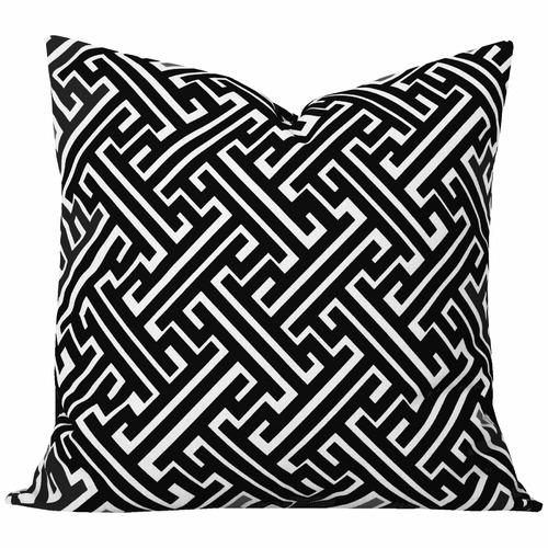 Cushion Bazaar Black Geometric Maze Cushion