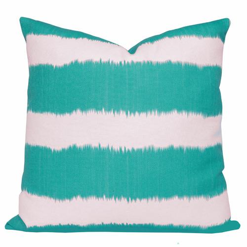 Cushion Bazaar Turquoise Stripe Ikat Bayou Cushion