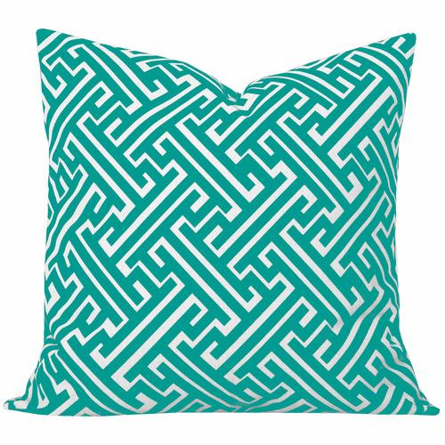 Cushion Bazaar Turquoise Geometric Maze Cushion