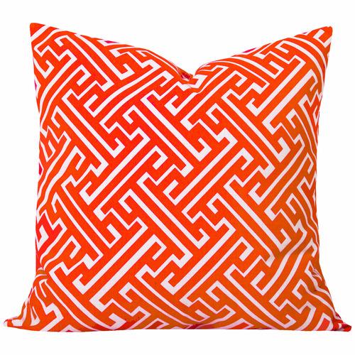Cushion Bazaar Burnt Orange Geometric Maze Cushion