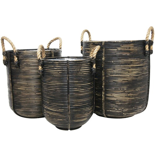 Banyan Home 3 Piece Black Jazaa PE Rattan Basket Set
