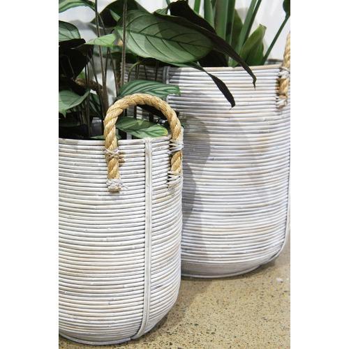 Banyan Home 3 Piece White Zorea PE Rattan Planter Set