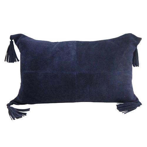 Banyan Home Denim Tasselled Suede Leather Cushions