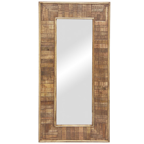 Banyan Home Natural Taani Rectangular Mango Wood Mirror