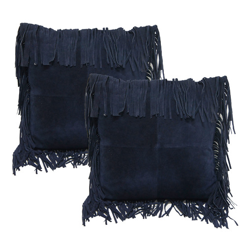 Banyan Home Denim Fringed Suede Leather Cushions