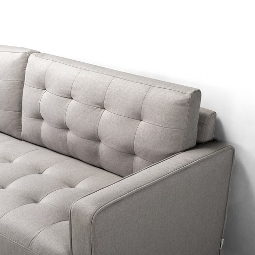 Studio Home Stone Grey Weave Mid Century 3 Seater Sofa