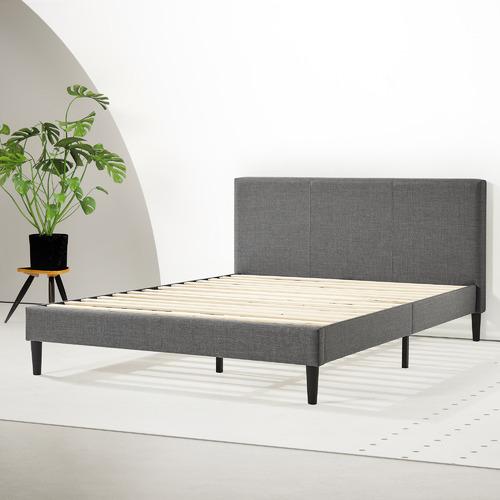 Charcoal Camara Fabric Bed with Headboard