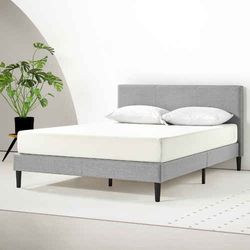 Grey Laybell Fabric Bed with Headboard