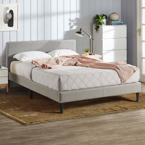 Light Grey Laybell Fabric Bed with Headboard