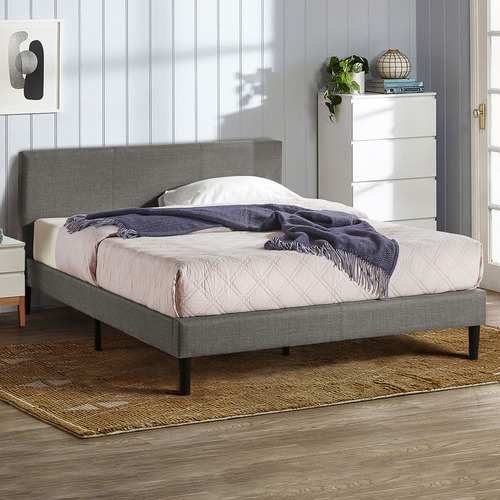 Charcoal Laybell Fabric Bed with Headboard