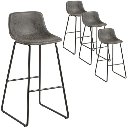 MYROOM Grey Bailey Faux Leather Barstools