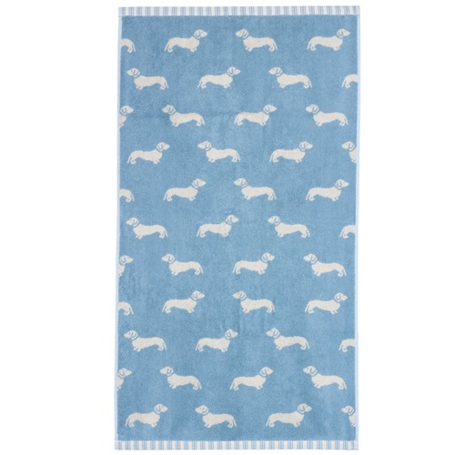 Emily Bond Blue Dachshund Cotton Hand Towels