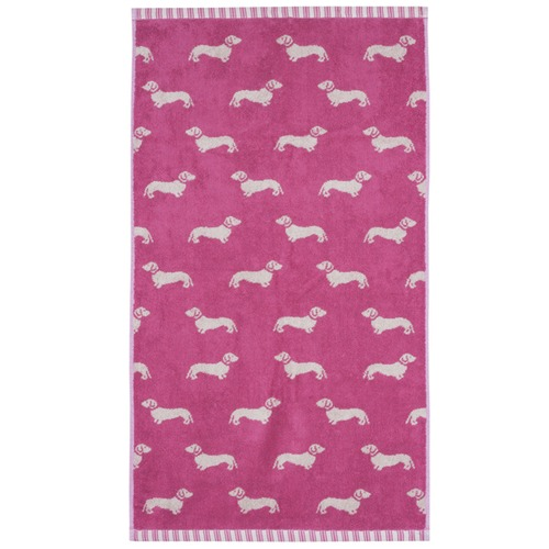 Emily Bond Pink Dachshund Cotton Hand Towels