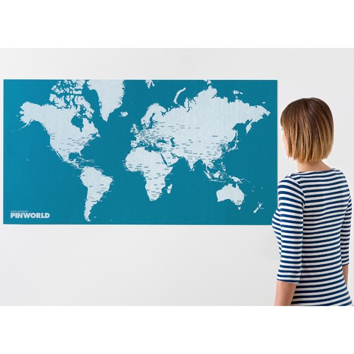 Palomar Light Blue Pin World Felt Map