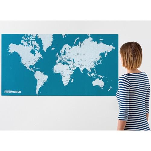Palomar Light Blue Pin World Felt Map